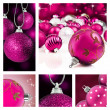 Collage of pink  christmas decorations on different backgrounds — Stock Photo
