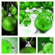 Collage of green christmas decorations — Stock Photo