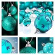 Collage of blue christmas decorations on different backgrounds — 图库照片