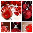 Collage of red christmas decorations on different backgrounds — Foto Stock