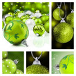 Collage of green christmas decorations — 图库照片