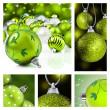 collage de adornos de Navidad verde — Foto de Stock