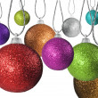 Colorful red green and other  christmas baubles balls with colorful background — Stockfoto
