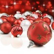 Red decorative christmas ornaments with star background — Stok fotoğraf