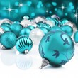 Blue decorative christmas ornaments with star background — Photo