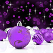 Purple decorative christmas ornaments with star background — Stockfoto