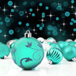 Blue decorative christmas ornaments with star background — Stock Photo #13389411