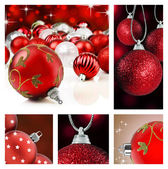 Collage of red christmas decorations on different backgrounds — Stock Photo