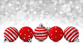 Christmas decoration balls on a star background with space for text — Stock Photo