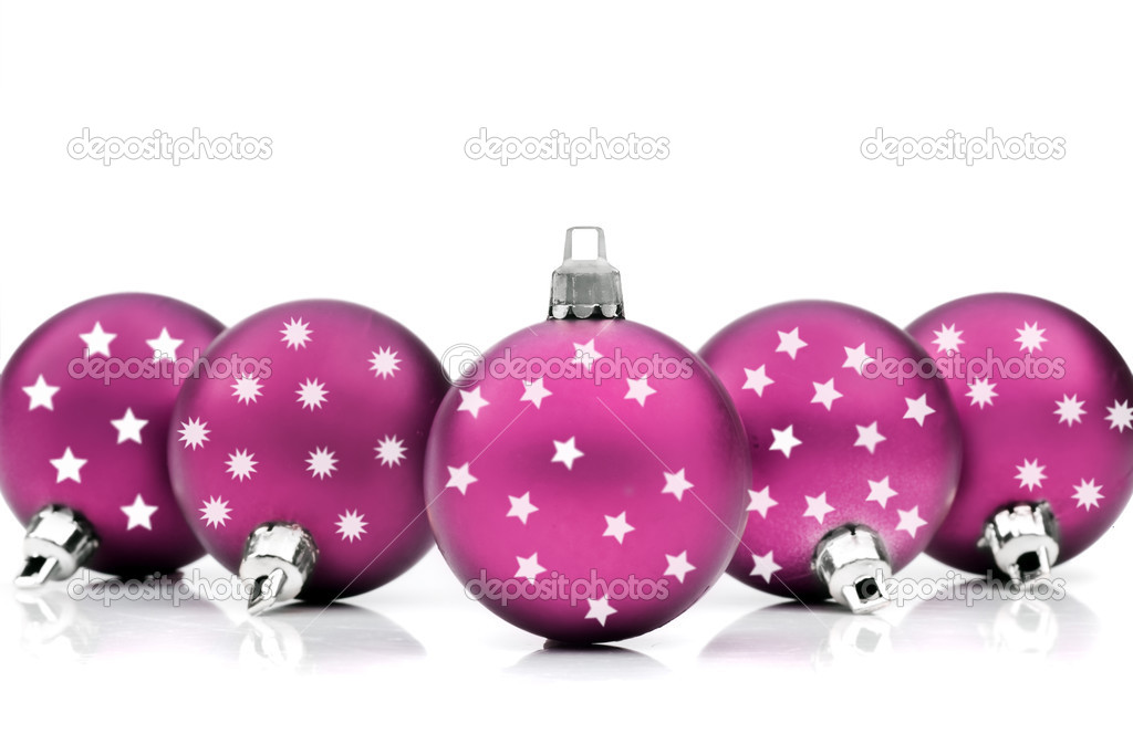 Colorful christmas decorations on white background — Stock Photo #13389347