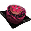 One chocolate cupcake with pink icing — Stock Photo