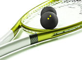 Green and silver squash racket and balls — Stock Photo