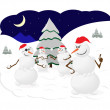 Snowmen winter snow snowballs game fun Christmas trees — Stock Vector