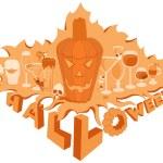 Halloween pumpkin orange objects holiday set bar glass — Stock Vector #32543821