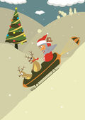 Christmas santa illustrationer semester vintern renen humor — Stockvektor