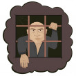 Stock Vector: Prisoner humcrime hand security bars punishment deprivation m