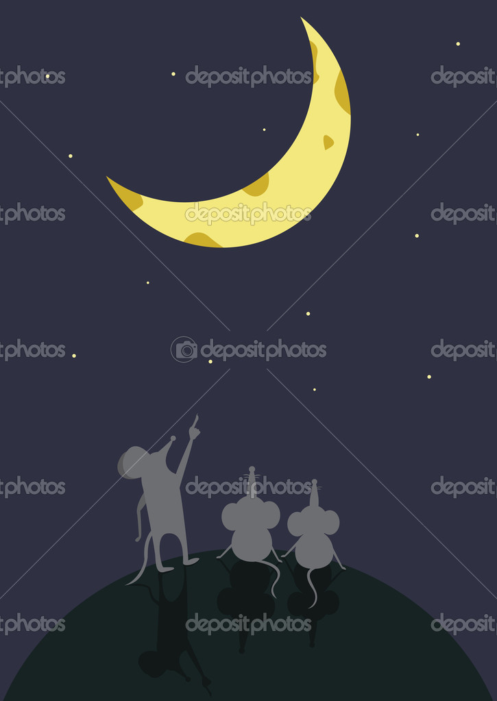 Cartoon Moon Surface Mouse Sitting Moon Surface