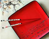 Palillos y plato rojo japonés — Foto de Stock