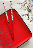 Japanese plate and chopsticks — Stock Photo