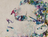 Grange watercolor man — Stock Photo