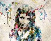 Grange watercolor girl — Stock Photo