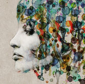 Watercolor female profile — Stockfoto