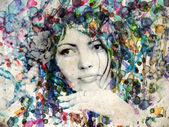 Watercolor girl with rose — Stock Photo