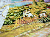 Crosstitch in progress — Stock Photo