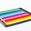 Stok fotoğraf: Set of color pencils in pencil case on white background