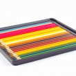 图库照片: Set of color pencils in box on white background