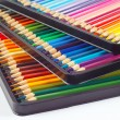 Three sets of color pencils in pencil box on white background — Stok Fotoğraf #15652381