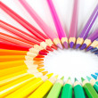 Circle of colored pencils on white background — Stock Photo #15652943