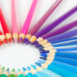 Stok fotoğraf: Circle of colored pencils for creativity on white background