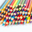 Stock Photo: Set of color pencils for art on white background