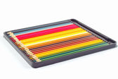 Set of color pencils in box on a white background — Φωτογραφία Αρχείου