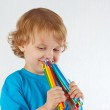 Young cute boy holds color pencils on a white background — Stock Photo #16044791