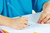 Children's hand draw with colored pencils — Foto de Stock