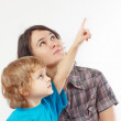 Little boy shows his hand up to his mother — Stock Photo #19435647