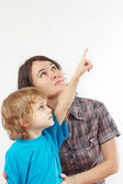Little boy shows his hand up to his mother — Stock Photo