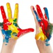 Pair of children's hands painted isolated on white background — Stock Photo #26487053