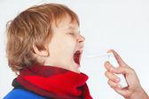Little sick boy used medical aerosol for breath — Stock Photo
