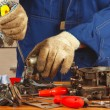Repair of parts car engine in workshop — Stock Photo