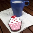 Stock Photo: Sweet cup cake cookie with cup of coffee