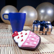 Foto Stock: Sweet cupcake cookie in festive ambiance