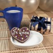 Sweet chocolate heart cookie - Stock Photo