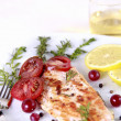 Grilled Salmon withe lemon and spices — Stock fotografie