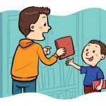 prendendo in prestito un libro — Vettoriale Stock