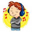 Listening To Music — Stock Vector
