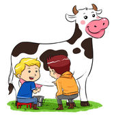 Milking A Cow — Stock Vector