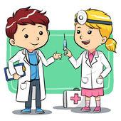 Doctor Kids — Stock Vector